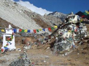 The Memorial to Climbers near Lobuche Peak