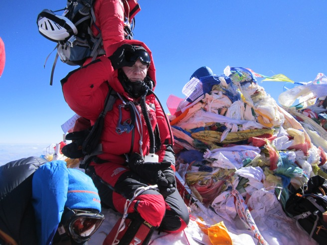 Looking 'a little' tired on the summit of Everest