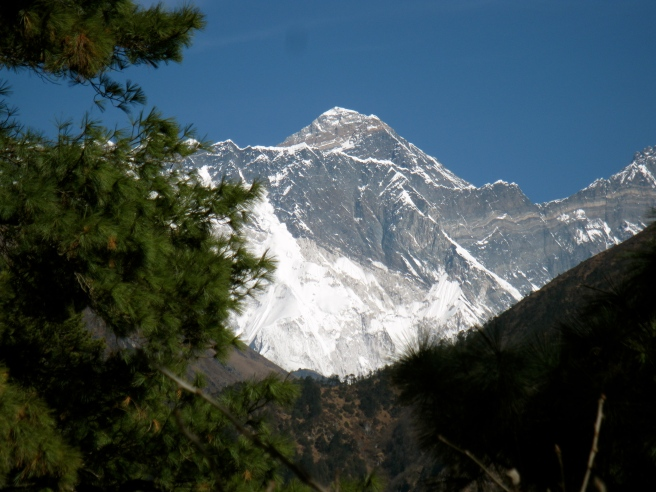 First view of Everest on the way to Namche Bazaar