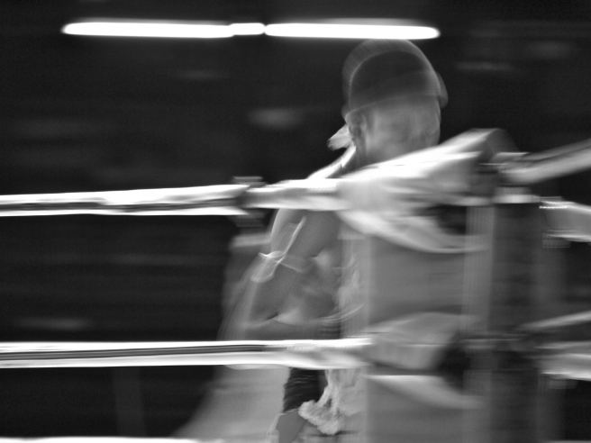 A boxer circling the ring before his fight at Lumpinee Boxing Stadium, Bangkok