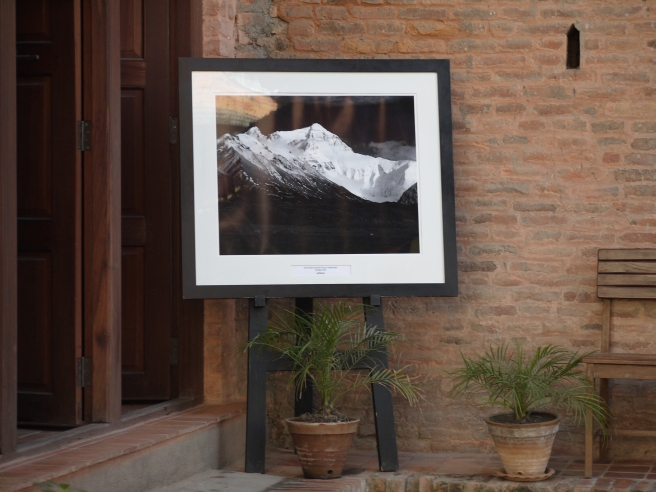 A photo of Everest outside a gallery in Kathmandu